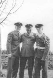 Click to enlarge photo. Left to right: Cecil Chambers, Bob Willis, Jim Seymour. Back of Trans. Barracks after Inspection Parade.  Submitted by Jim Seymour.