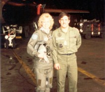 Mrs. D. Thompson, Wing CO's wife with DCC SSgt. Olley. Submitted by Kevin Olley, 20th TFW, 520th AGS, 55 AMU, blue section, 20 TFW, MAT DCC / ABDR training section. 1983 - 1986.
