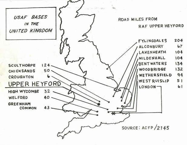 Air Force Bases In England Map.Aerial Views Maps Raf Upper Heyford England